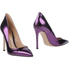 Gianvito Rossi Pump ($236) ❤ liked on Polyvore featuring shoes, pumps, heels, purple, high heel stilettos, stilettos shoes, purple leather shoes, purple pumps and purple leather pumps