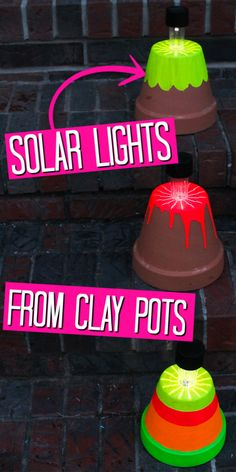 Use some fun paint and make your own terracotta pot solar lights in minutes! These cute lights are perfect for your outdoor porch or patio. #summer #solarlights #claypots #gardening Solar Light Crafts, Diy Solar, Solar Lights, Flower Pot Crafts, Clay Pot Crafts, Diy Crafts, Flower Pots, Diy For Teens, Diy For Kids