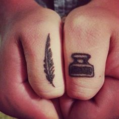 30 Perfect Tattoos For Word Nerds. Quill feather pen and an ink pot