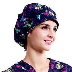 Outsport Print Scrub Caps Women Surgical Purple Hat Ponytail Multi Suitable