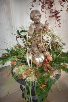 Front porch urns after the holidays. Christmas Urns, French Christmas, Christmas Love, Outdoor Christmas, Rustic Christmas, All Things Christmas, Winter Christmas, Vintage Christmas, Christmas Wreaths