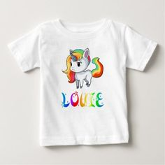 Louie Unicorn Baby T-Shirt - baby gifts child new born gift idea diy cyo special unique design