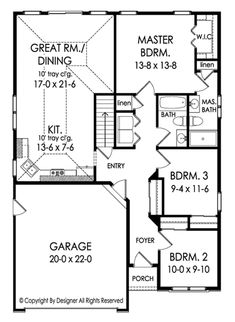 This ranch design floor plan is 1362 sq ft and has 3 bedrooms and has 2 bathrooms. Narrow Lot House Plans, Lake House Plans, Garage House Plans, House Plans One Story, Bungalow House Plans, Ranch House Plans, Cottage House Plans, New House Plans, House Floor Plans