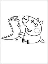 Peppa Pig Coloring Pages Awesome George Pig and His toy Dinosaur Coloring Pages Peppa Pig Coloring Pages, Valentine Coloring Pages, Dinosaur Coloring Pages, Cartoon Coloring Pages, Colouring Pages, Coloring Pages For Kids, Kids Coloring, Coloring Book, George Pig Party