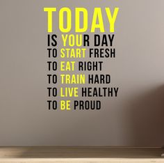 Today is your day. Wall Art Fitness Decal Quote Gym Kettlebell Crossfit Yoga Boxing - Healty fitness home cleaning Gym Room At Home, Home Gym Decor, Graphisches Design, Home Gym Design, The Words, 3d Foto, Gym Interior, Gym Quote, Co Working