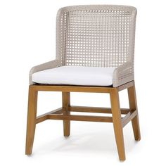 Sol Modern Classic Woven Rope Teak Outdoor Side Chair | Kathy Kuo Home