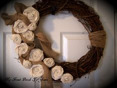 Muslin and Burlap Wreath by Myfrontporchtoyours on Etsy, $35.00