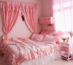 Princess rustic lace ruffle bedding sets king queen size duvet cover finished window decoration curtain home bedroom curtains Room Ideas Bedroom, Home Bedroom, Girls Bedroom, Bedroom Decor, Bedrooms, Bedroom Curtains, Cute Room Ideas, Cute Room Decor, Pastel Room