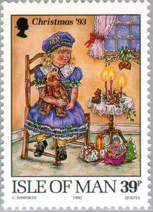 ◇Isle of Man 1993 christmas stamp girl blue dress toys beret britain