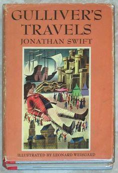GULLIVER'S TRAVELS ~ JONATHAN SWIFT ~ ILLUSTRATED LEONARD WEISGARD ~ 1954 ED BCE