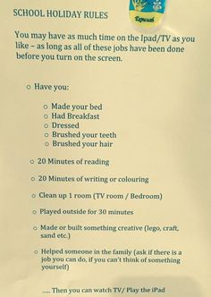Summer rules for iPad/video games: