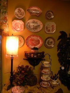 Plates on walls.