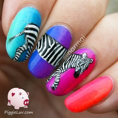 Zebra nail art on neon gradient by PiggieLuv from Nail Art Gallery