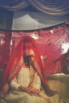 Pakistani bridal tradition, The bride is covered with a veil before her nikka, white and red, Desi Bride, Desi Wedding, Islam Wedding, Bridal Elegance, Asian Bridal, Pakistani Wedding Dresses, Indian Wedding Photography, Nature Photography, Pics Art