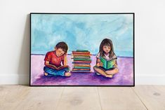 Book Illustration, Watercolor Illustration, Watercolor Paintings, Kids Room Art, Art For Kids, Painted Coffee Mugs, Painted Books, Beautiful Drawings, Kids Reading