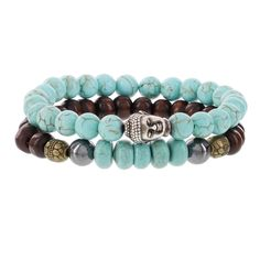 Fox and Baubles Brass Buddha Turquois Chocolate Wood Turquiose Rondells Hematite and Spacers Men's Beaded Stretch Bracelets