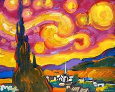 """Peter Max interprets famous works, including Van Gogh's """"Starry Night,"""" in his signature style. He will be in Orlando on Saturday."""