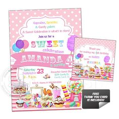 Candies Sweet Birthday Party-Custom Printable Invitation with