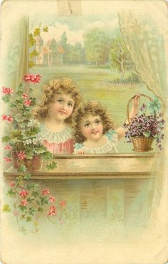 Two girls at a window, with a basket of violets. 1908.