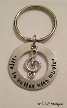 stamped music lover keychain with charm-life is by OakHillDesigns #music #keychain