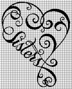 Sisters Heart (Chart/Graph AND Row-by-Row Written Crochet Instructions) – 01 Geek Cross Stitch, Dragon Cross Stitch, Cross Stitch Quotes, Cross Stitch Heart, Cross Stitch Alphabet, Cross Stitch Embroidery, Crochet Instructions, Crochet Diagram, Crochet Chart