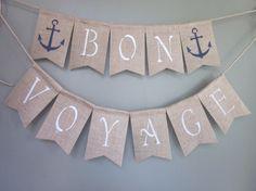 Bon Voyage Anchor Banner  Rustic Cruise by QuaintConfections