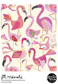 Jill McDonald's flamingos.