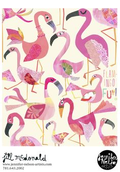 Jill McDonald's flamingos.
