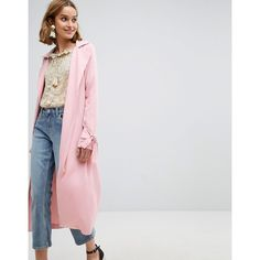 Vero Moda Trench Coat (4.910 RUB) ❤ liked on Polyvore featuring outerwear, coats, pink, trench coats, pink coats, vero moda, vero moda coats and pink trench coats