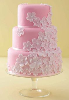 Pink + White Wedding Cake