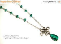 20% OFF Celtic Knot Necklace Emerald Green Beaded by AngiePinkal