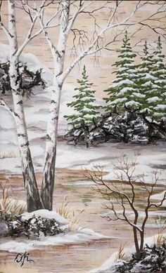 Painting on birch bark Watercolor Landscape Paintings, Landscape Drawings, Landscape Art, Winter Trees, Winter Art, Beautiful Art Pictures, Garden Coloring Pages, Moon Painting, Winter Painting