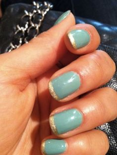 Shay Mitchell's teal and gold nails are a cute twist on a classic french. It's perfect for summer!   - Seventeen.com