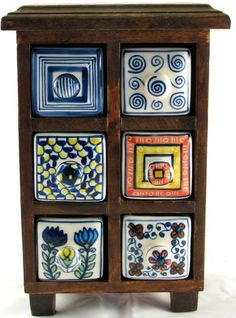 Wood STORAGE CONTAINER CHEST or SPICE CABINET Painted Ceramic Drawer Tabletop