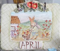 Ceramic Tile Plaque Bunny in the English by CynthiaCranesPottery