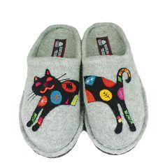 Haflinger Sassy Cat Silver Grey Slippers - Family Footwear Center