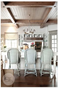 French Provence inspired kitchen from Decor de Provence's portfolio ~~ Decor, Home, Home Kitchens, Coffered Ceiling, Kitchen Design, Interior, House, House Interior, Shabby Chic Kitchen