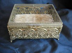 Vintage Gold Ormolu Jewelry Box With Beveled Glass by purrrfume, $24.95