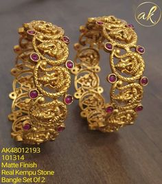 Stunning one gram gold bangles with lord vinayaka motifs. Gold Chain Design, Gold Jewellery Design, Gold Jewelry, Jewelery, Diamond Jewelry, Silver Jewellery Indian, Temple Jewellery, Gold Bangles For Women, Bangle Bracelets With Charms