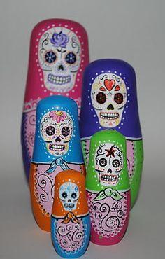 mexican catrina skull nesting dolls