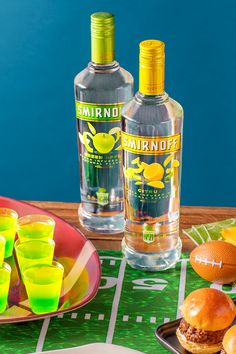 Get your tailgate off to a winning start with these Green Apple Citrus jelly shots, made with the most awarded brand in vodka over the past decade. Game recognize game. Recipe: Dissolve 1 package of green apple gelatin into 1 cup of boiling water, then add 1 cup of Smirnoff Green Apple. Let it cool, and pour into plastic shot glasses, filling them about halfway. Set in fridge for 1 hour, or until set. Repeat the same steps with lemon gelatin and Smirnoff Citrus. Refrigerate until time to…