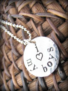 I (heart) my boys - i love my boys -  Hand Stamped Sterling Silver Mommy Necklace. $25.00, via Etsy.