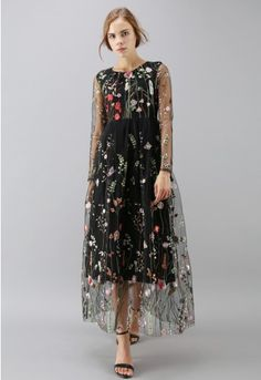 8f93567572a Lost in Flowering Fields Embroidered Mesh Maxi Dress in Black - Retro