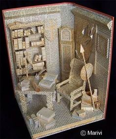 Dollhouses Keep out of reach of children is part of Altered book art - by Marivi Garrido Bianchini Folded Book Art, Paper Book, Book Folding, Paper Art, Cut Paper, Paper Cutting, Book Crafts, Paper Crafts, Libros Pop-up