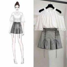 Clothes Design Anime Ideas For 2019 Set Fashion, Trendy Fashion, Fashion Models, Girl Fashion, Womens Fashion, Fashion Design Drawings, Fashion Sketches, Korean Fashion Trends, Asian Fashion