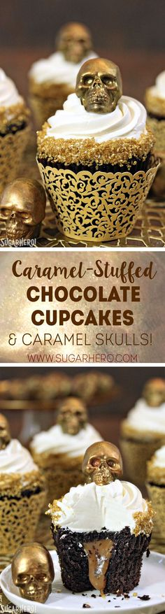 These Caramel-Stuffed Chocolate Cupcakes are topped with Gold Chocolate Caramel Skulls | From http://SugarHero.com
