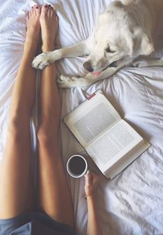 Snuggling Up With A Furry Friend! Black Coffee + Good Book In Bed - Bliss!