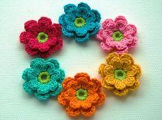 Crochet Applique Flowers in Bright Zesty Shades x 6. $9.00, via Etsy.