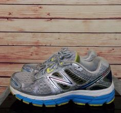New Balance Women's 860V4 Silver With Blue and Limelight Running Shoes size 9 #Nike #RunningCrossTraining