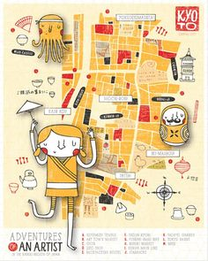 Kyoto Map, Illustrated by Nicole LaRue Saved onto Concepts & Illustrations Collection in Illustration Category Travel Illustration, Graphic Design Illustration, Travel Maps, Travel Posters, Kyoto Map, Ok Design, Urban Design, Tourist Map, City Maps